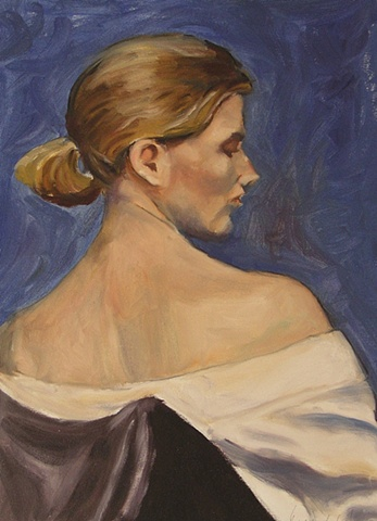 Portrait of a young woman from the back