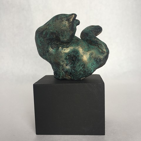 Preening Cat in resin with bronze/green patina