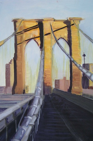 Painting of Brooklyn Bridge Midday