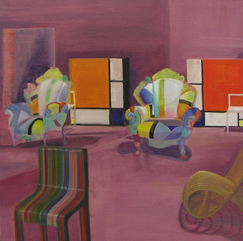 A colorful and whimsical painting of  uniqiue and strange chairs.