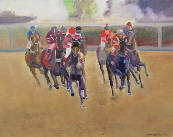 Painting of horse racing on the track
