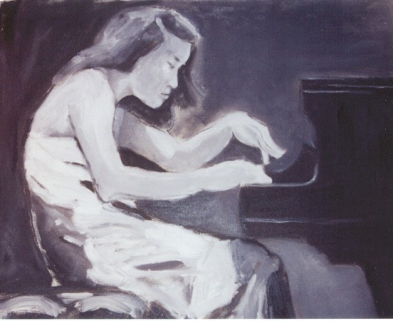 Young woman playing the piano in black and white