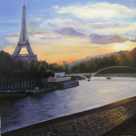 Painting of the Eiffel Tower and the Seine at sunset