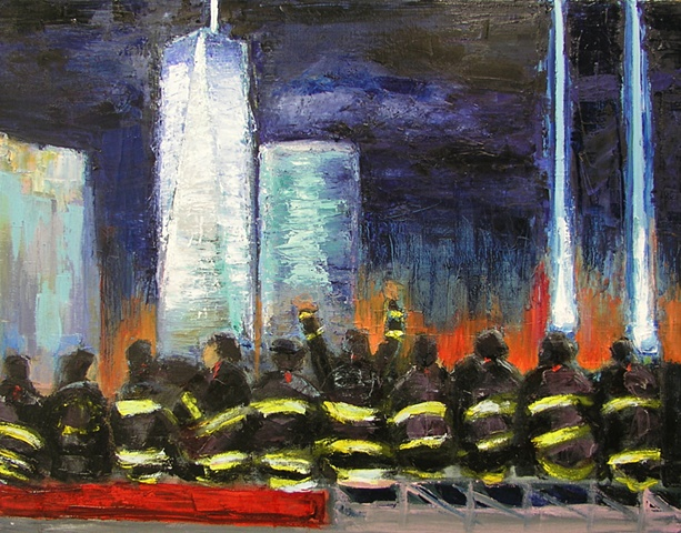 World Trade Center, lights ablaze at night, the eternal symbol of New York and Wall Street