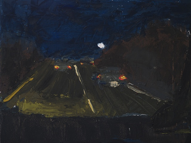 painting of moonrise on the road landscape