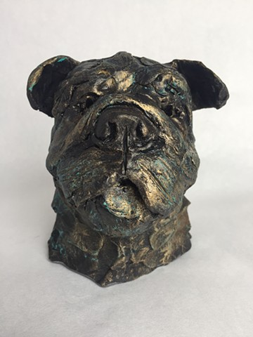 Sculpture of bulldog in resin with bronze patina