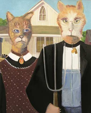 surrealistic version of American Gothic with cats and mice