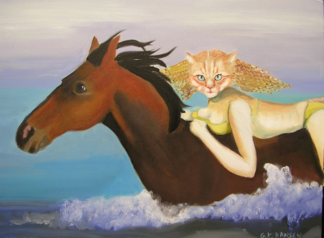 Surrealistic version of pretty girl cat riding horse in the ocean