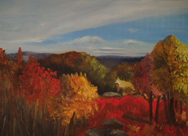 Landscape of delaware river in pennsylvania in the fall with foliage and vibrant colors and mountains in the distance