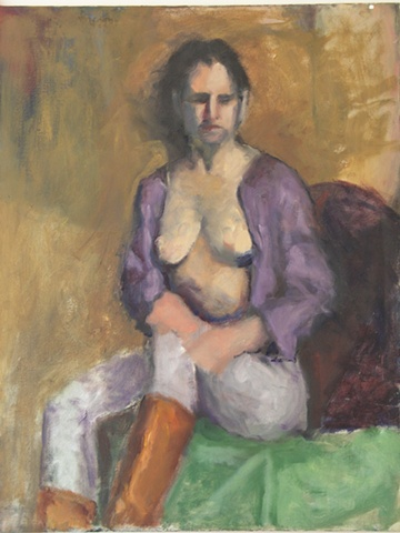 Painting of a young woman semi nude