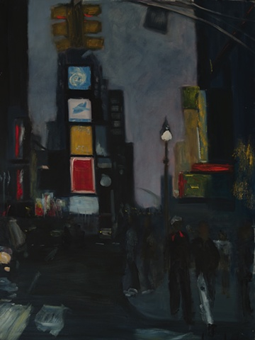Painting of Times Square in New York City at night