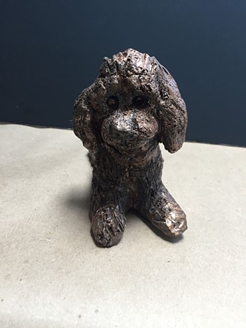 Ronnie, the toy poodle sculpture in bronze