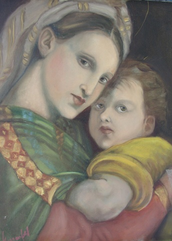 Rendition of Raphael's Madonna and Child