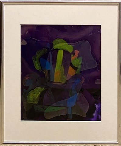 Abstract painting of a decorate chair in purple, green, and black