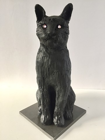 Black Cat in Resin with Pink Rhinestone Eyes Small Sculpture
