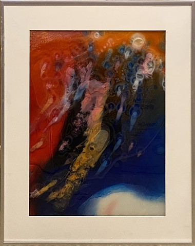 Abstract painting of a wave in orange, red, blue, white