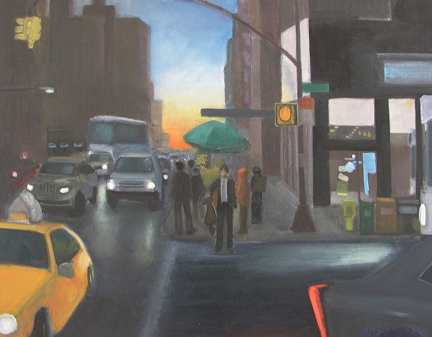 Painting Night falls on midtown Manhattan cityscape at sunset with traffic and people on city streets