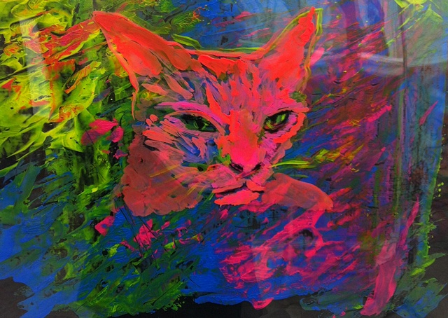 Painting of psychedelic cat in blues, greens, yellow and red, feline on the prowl