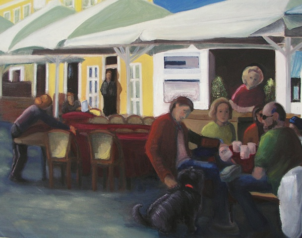 Painting of outdoor Copenhagen Cafe with streaming sunlight with people and dog