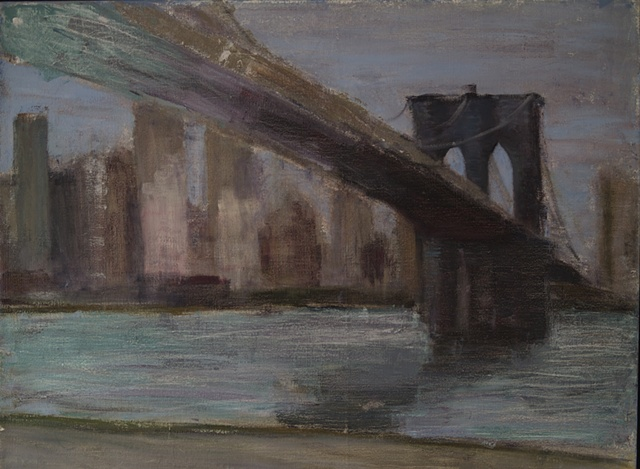A cityscape painting of Brooklyn Bridge over the East River of Manhattan in the rain