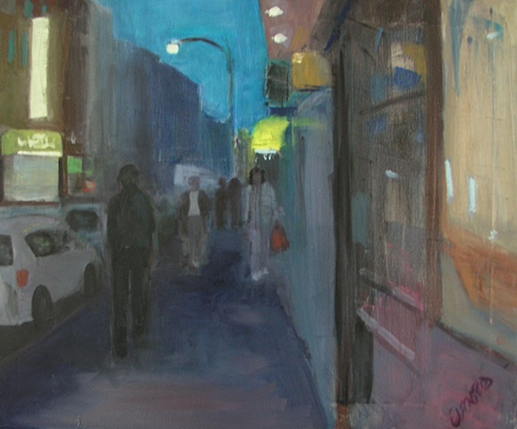Cityscape painting of lower east side street in lower Manhattan at sunset or dusk