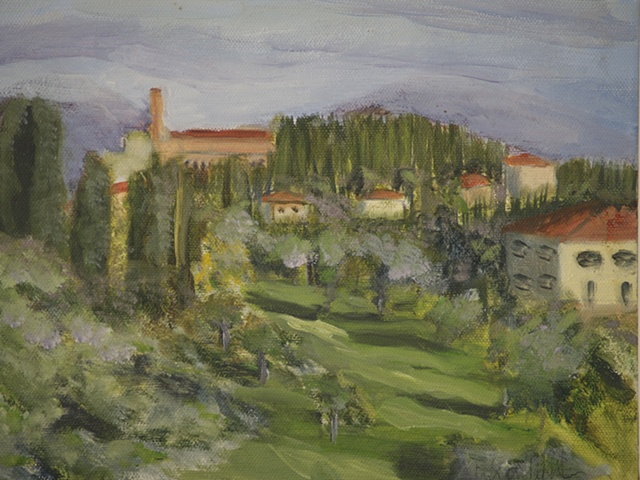 landscape painting of boboli gardens behind the Pitti Palace in Florence Italy