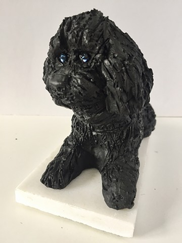 Black Toy Poodle with Blue Eyes Small Sculpture