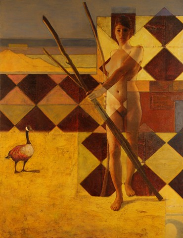 A new painting by Dan Corbin emphasizing the female form in a desert setting.