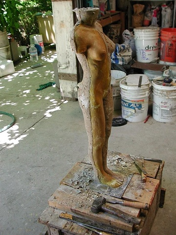 Working on sculpture