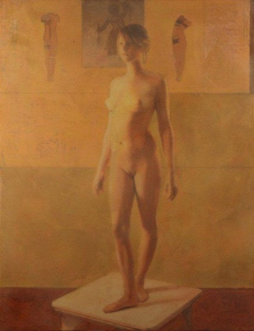 "Mixed media figurative painting ""Art Angles"" by artist Dan Corbin slated for Laguna Beach Art Museum."