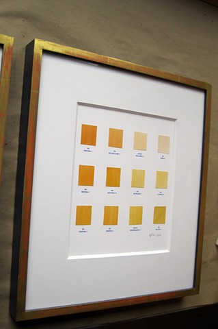 custom burnished gold leaf picture frames for Angela Lorenz work Maine