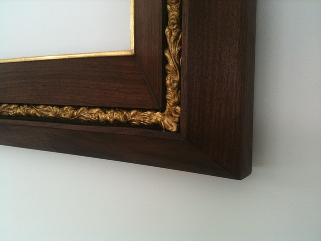 walnut and 22 karat gilt ornament and fillet for custom made in Maine picture frame