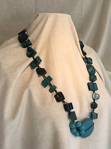 Made in France by Sobral turquiose chunky necklace