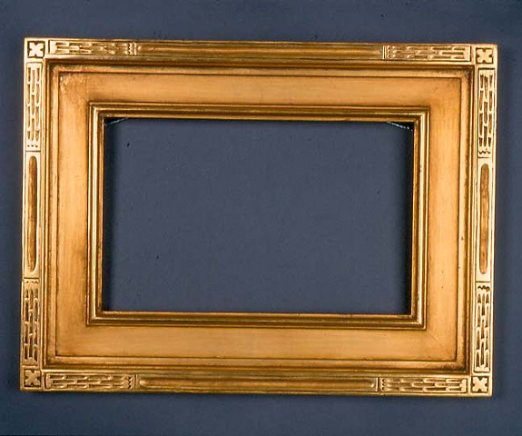 carved arts and crafts frame in 22 karat gold leaf hand made custom handmade in Maine