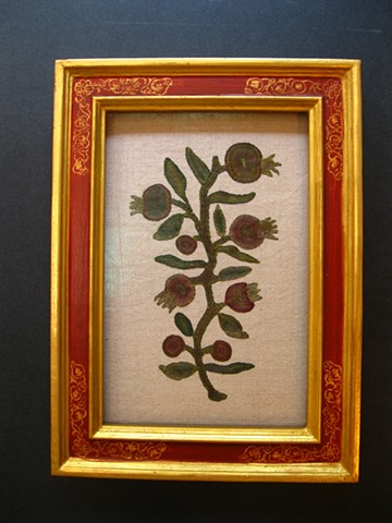 hand made in Maine 22 karat gilt Cassetta frame with sgrafitto corners