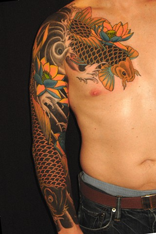 KOI FISH & LOTUS SLEEVE