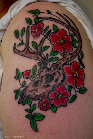 Traditional Deer skull Tattoo by Jay Carter, 8th Day Tattoo, Jacksonville, Florida USA