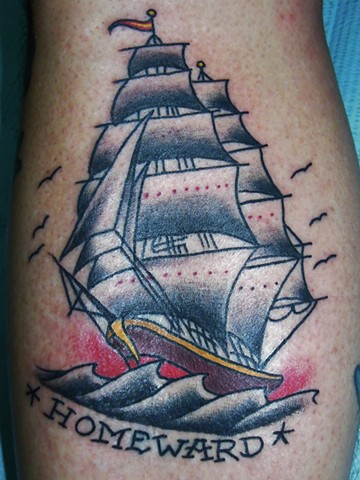 Traditional Clipper ship Tattoo by Jay Carter, 8th Day Tattoo, Jacksonville, Florida USA