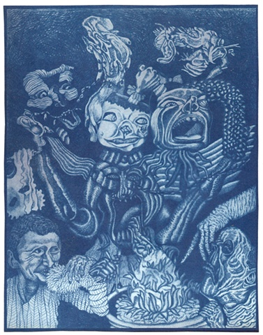 ...from a series of cyanotype prints made from a larger graphite drawing...