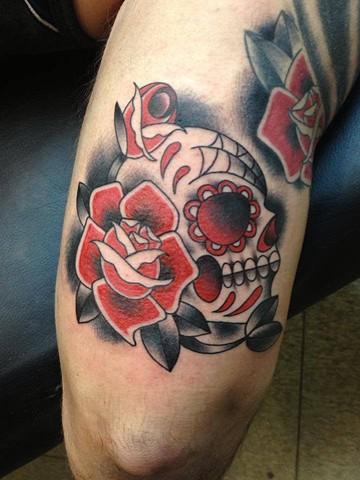sugar skull and rose