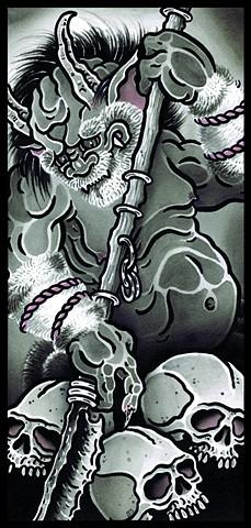 oni demon and skulls