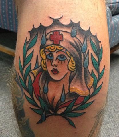 nurse on leg