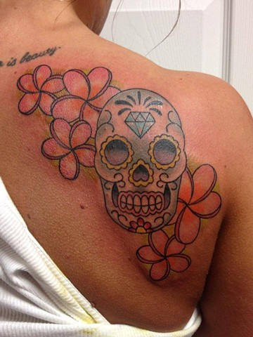sugar skull and plumerias