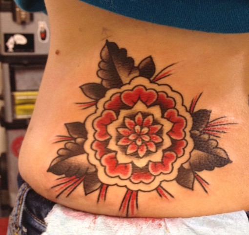 red and black flower on back