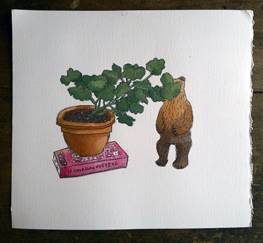 Bear hiding behind Geranium on 15 Canadian Poets x 2