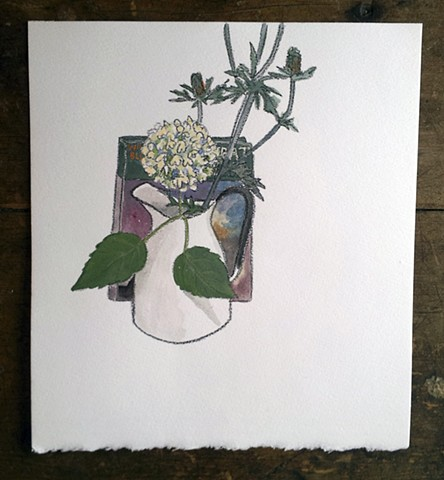 The Compleat Naturalist hiding behind hydrangea, thistles, and vase