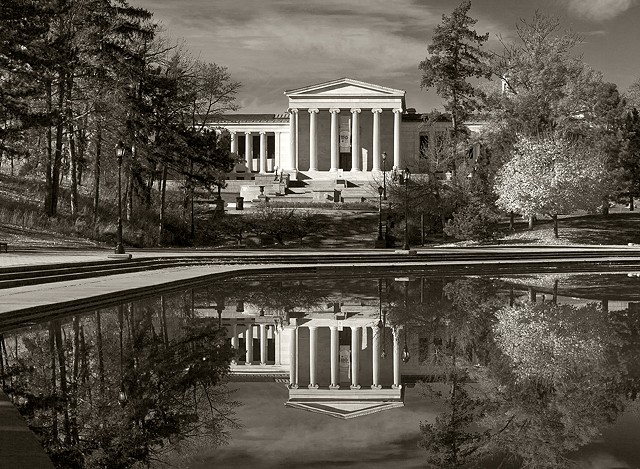 Albright-Knox Art Gallery reflected in Hoyt Lake, Delaware Park, Buffalo, NY