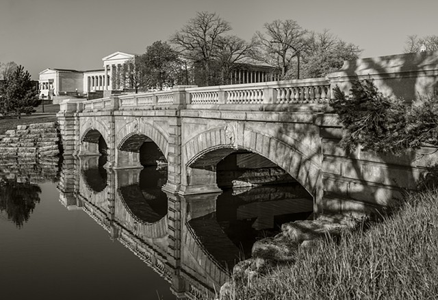 Stone bridge reflection in Hoyt Lake, Delaware Park, Buffalo, NY
