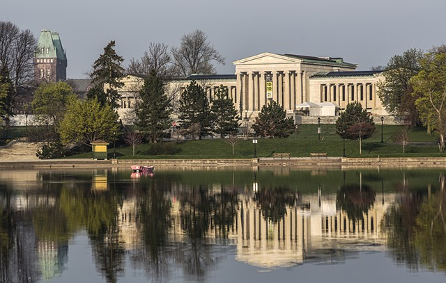 Hoyt Lake, Albright-Knox Art Gallery, Richardson Towers, Delaware Park, Buffalo, NY