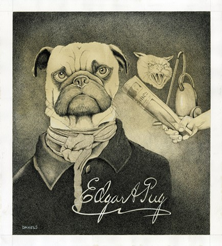 Edgar Allan Pug, watercolor of pug, pug print, dog print